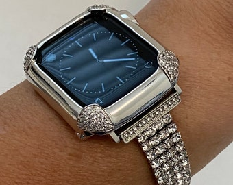 White Gold Apple Watch Band Women's & or Silver Pave Lab Diamond Bezel Cover for Iphone Watch