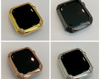 Apple Watch Bezel Cover 40mm 44mm Pave Lab Diamond Corners in Silver, Rose Gold, Yellow Gold, Black on Black