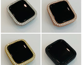 Apple Watch Bezel Cover 38mm 40mm 42mm 44mm with 2.5mm Lab Diamonds Silver, Rose Gold, Yellow Gold, Black on Black