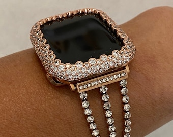 Apple Watch Band Women Rose Gold and or Bezel Bumper Lab Diamond Cover Iwatch Band Series 6 SE RPB1