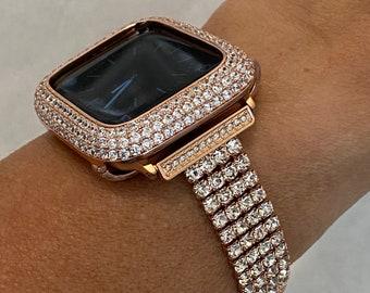 Custom Apple Watch Band Women Rose Gold and or Lab Diamond Bezel Iwatch Bling 38mm 40mm 42mm 44mm Series 6 Handmade