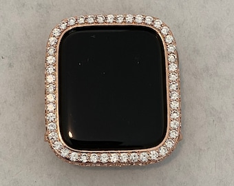Apple Watch Band Bezel Cover Rose Gold Bumper Face with Lab Diamonds Series 6 SE bzl