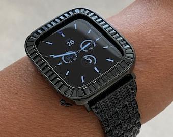 Custom Apple Watch Band Black on Black & or Iwatch Lab Diamonds Bezel Case Cover 38mm 40mm 42mm 44mm Series 6 SE