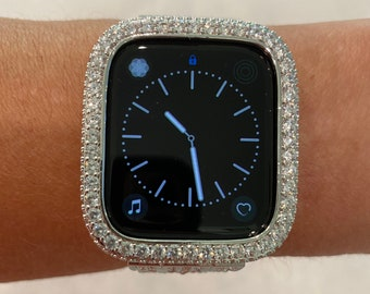 Silver Apple Watch Bezel, Metal Lab Diamond Cover 2.5mm Iwatch Bling 38mm 40mm 42mm 44mm Custom Handmade