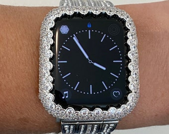 Silver Apple Watch Bezel Cover,  Bling Crystal Iwatch Case 38mm 40mm 42mm 44mm Series 1,2,3,4,5,6,SE bzl