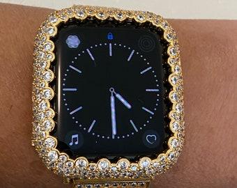 Apple Watch Bezel Cover Women Gold Lab Diamond Iwatch Bling 38mm 40mm 42mm 44mm Series 6 SE bzl