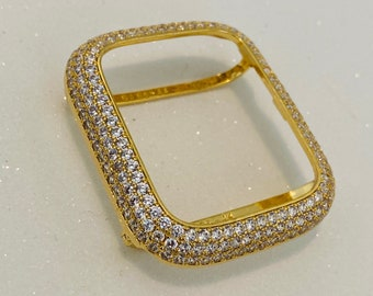 Gold Apple Watch Bezel Cover Pave Lab Diamond Case Crystal Iwatch Band Bling Series 1,2,3,4,5,6,SE bp1