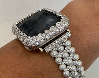 Apple Watch Band 40mm Pearl Silver Rhinestone and or Lab Diamond Bezel Cover Iwatch Bling Series 6 sb1