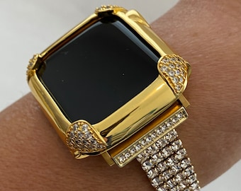 Gold Apple Watch Band Women and or Pave Lab Diamond Bezel Case for Iwatch 38mm 40mm 42mm 44mm