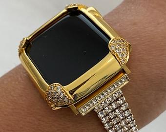 Gold Apple Watch Band Women 38 40 42 44mm and or Pave Lab Diamond Bezel Case Custom Handmade