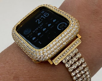 Gold Apple Watch Band Women 38 40 42 44mm Crystal & or Pave Lab Diamond Bezel Cover Iwatch Bling Series 6 SE