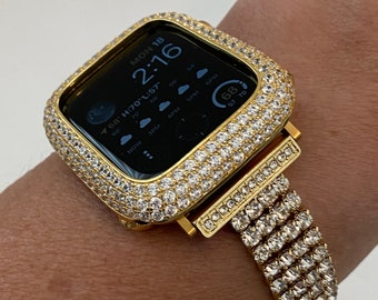 Apple Watch Band Yellow Gold Handmade 38mm 40mm 42mm 44mm & or Lab Diamond Bezel Cover Series 6