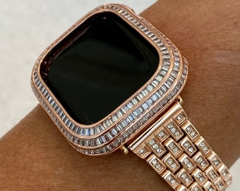 Rose Gold Apple Watch Band with Swarovski Crystals & or Lab Diamond Baguette Bezel Cover 40mm 44mm Custom Handmade