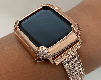 Rose Gold Apple Watch Band Women 38 40 42 44mm & or Pave Lab Diamond Bezel Case for Iwatch