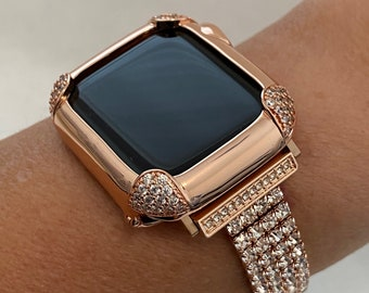 Rose Gold Apple Watch Band Women and or Pave Lab Diamond Bezel Case for Iwatch 38mm 40mm 42mm 44mm