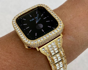 Gold Apple Watch Band 38mm 40mm 42mm 44mm Baguette & or 2.5mm Yellow Gold Lab Diamond Bezel