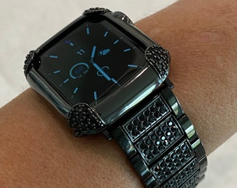 Black Apple Watch Band & or Pave Black Lab Diamond Bezel Bumper Cover 38mm 40mm 42mm 44mm Series 6