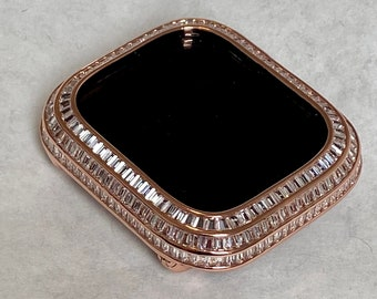 Apple Watch Bezel Cover 40mm 44mm 3 Rows of Lab Diamond Baguettes in 14k Rose Gold Plated Metal