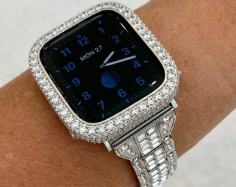 Silver Apple Watch Band 38mm 40mm 42mm 44mm Baguette & or 2.5mm White Gold Bezel Lab Diamond