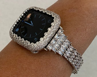 Custom Made to Fit Apple Watch Baguette Silver Band & or White Gold Lab Diamond Bezel Cover 38mm 40mm 42mm 44mm