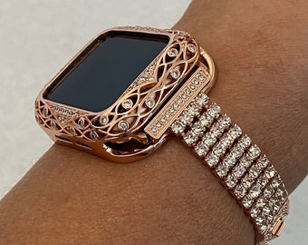 Custom Apple Watch Band Women Rose Gold 38mm 40mm 42mm 44mm and or Crystal Lsce Bezel Cover Series 6 Handmade