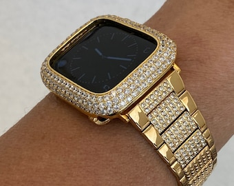 38 40 42 44mm Gold Apple Watch Band Swarovski Crystals & or Metal Hand Set Lab Diamond Bezel Cover Custom Handmade
