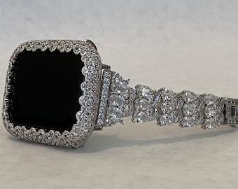 Custom White Gold Apple Watch Band Women 38 40 42 44mm & or Silver Lab Diamond Bezel Cover Handmade