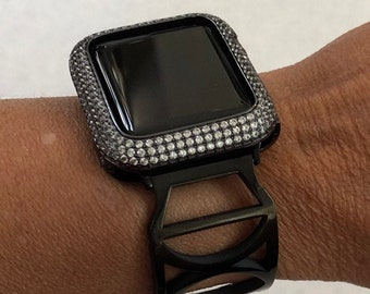 Apple Watch Bangle Black Watch Band Bling and or Lab Diamond Bezel Crystal Apple Watch Cover blb1