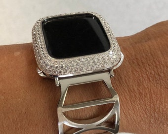 Silver Apple Watch-Band 40mm Woman Pave Apple Watch Cover Lab Diamond Bezel Bling sb1