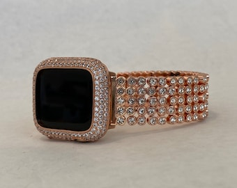 Crystal Apple Watch Band Rose Gold and or Lab Diamond Bezel Iwatch Bling 38mm 40mm 42mm 44mm Series 6 rpb1
