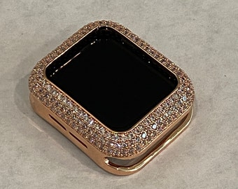 Apple Watch Bezel Cover Rose Gold Metal Cover Pave Bling Inset Rhinestones 38mm 40mm 42mm 44mm Series 6 Ipad Iphone Case SE  bzl