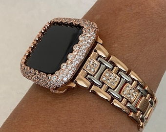 Two Tone Apple Watch Band 40mm Womens Rose Gold and or Silver Lab Diamond Bezel Bling Iwatch Series 6 SE Gift for Her rpb1