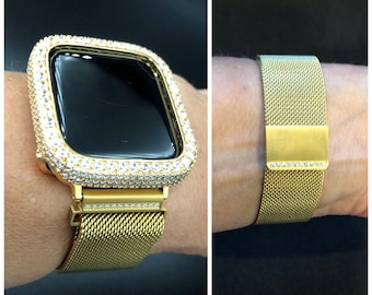 Gold Apple Watch Band Women Crystal Milanese Band Series 1,2,3 4 Apple Watch Cover 2.5mm Lab Diamond Bezel Case Bling