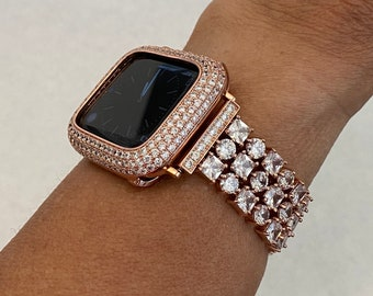Apple Watch Band Women Rose Gold 38mm 40mm 42mm 44mm Lab Diamond Bezel Cover Iwatch Bling Series 6 SE rpb1