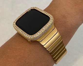 Gold Apple Watch Band Mens Stainless Steel and or Lab Diamond Bezel Cover Iwatch Bling 42mm 44mm Series 6 gb1