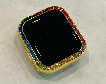 Gold Apple Watch Bezel Cover with Rainbow Crystals 38 40 42 44mm Series 2-6