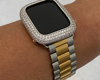 Two Tone Apple Watch Band and or Lab Diamond bezel Cover Bling Silver/Gold Iwatch Series 6 gb1