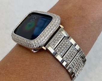 White Gold Apple Watch Band 38 40 42 44mm Silver & or Lab Diamond Bezel Case Iwatch Cover Ipad Iphone sb1