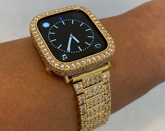 Iced Out Apple Watch Band 44mm Gold Lab Diamonds and or Bezel Case Cover Iwatch 38mm 40mm 42mm 44mm Series 6 SE gb1