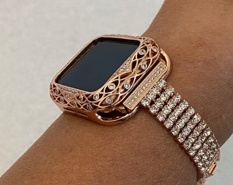 Apple Watch Band 40mm Rose Gold and or Rhinestone Wedding Bezel Jewelry 38mm 40mm 42mm 44mm Series 6 SE RPB1
