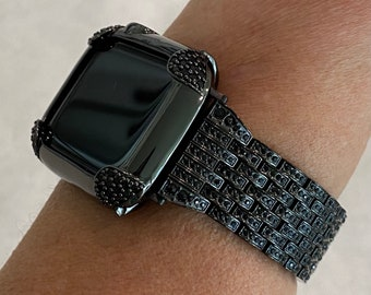 Black on Black Apple Watch Band & or Matching Lab Diamond Bezel Cover 40mm 44mm