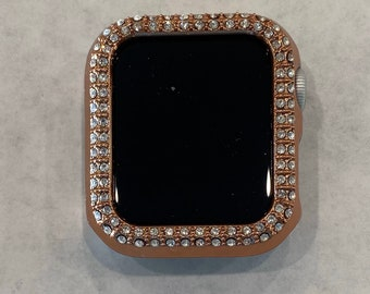 Apple Watch Cover Bezel Rose Gold Rhinestone Crystal Series 6 38mm 40mm 42mm 44mm Iwatch Band Bling pv bzl