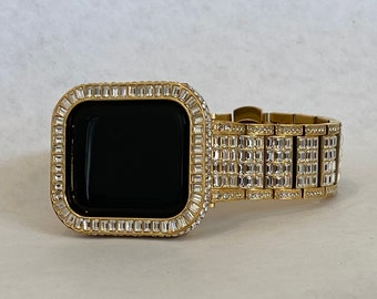 Bling Apple Watch Band 38mm 40mm 42mm 44mm Gold Rolex Style & or Lab Diamond Bezel Cover Gift for Him Series 6 ipad iphone gb1