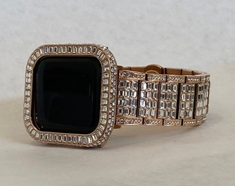 Rose Gold Apple Watch Band Rolex Style 40 44mm & or Iwatch Lab Diamond Bezel Case Series 6