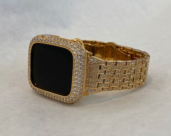 Iced Out Gold Apple Watch Band 38mm 40mm 42mm 44mm and or Apple Watch Bezel Lab Diamond Cover Iwatch Bling Series 6 SE gb1