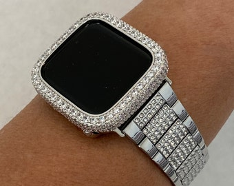 Series 6 Apple Watch Band Silver and or Lab Diamond Bezel Bumper 38mm 40mm 42mm 44mm Iwatch Iphone Case sb1