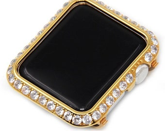 Bezel Only Apple Watch Cover, Gold Lab Diamond Metal Bezel Bling, Crystal Iwatch Band Series 1,2,3,4,5