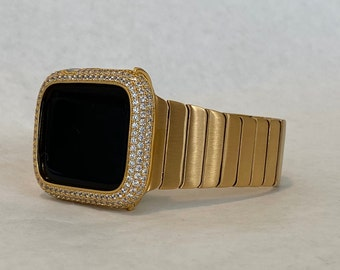 Apple Watch Band Mens Gold 42mm 44mm Stainless Steel and or Lab Diamond Bezel Cover Iwatch Bling Series 6 gb1