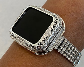 Custom Apple Watch Band Women Silver 38mm 40mm 42mm 44mm and or Crystal Lace Bezel Cover Series 6 Handmade