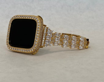 Yellow Gold Apple Watch Band Womens and or Lab Diamond Bezel Cover Iwatch Bling 38mm 40mm 42mm 44mm Series 6 SE gb1